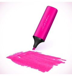 Pink marker with drawn spot vector image