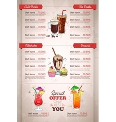 Restaurant vertical color cocktail menu vector