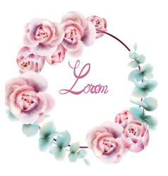 roses wreath frame watercolor delicate floral vector image