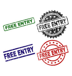 Scratched textured free entry seal stamps vector