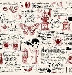 Seamless background on the coffee theme vector