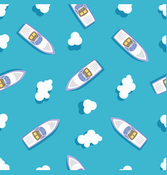 seamless pattern ship floating in ocean vector image
