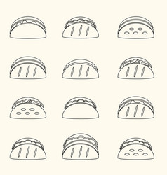 set of outline tortilla tacos food icons set eps10 vector image