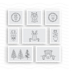 Set of postage stamps vector