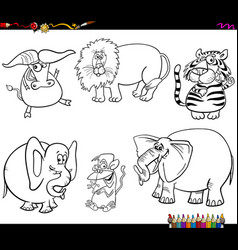 set of wild animal characters coloring book vector image