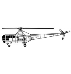 sikorsky r-5 dragonfly vector image