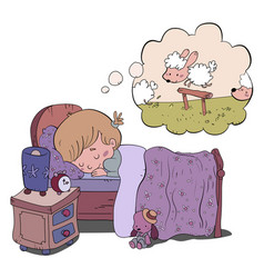 Sleeping girl dreaming about sheep vector