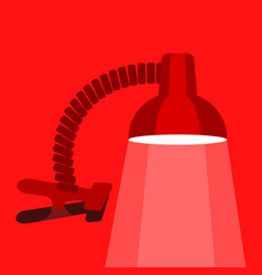 Small table lamp icon flat style vector