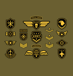Special force army insignia label set isolated vector
