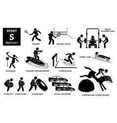 Sport games alphabet s icons pictograph squash vector