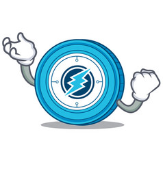 Succesful electroneum coin chracter cartoon vector