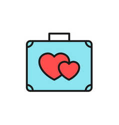 Suitcase with love icon honeymoon holiday travel vector