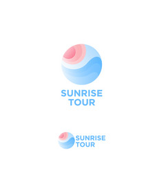 sunrise tour logo travel agency emblem vector image