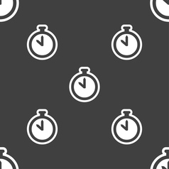 The stopwatch icon sign Seamless pattern on a gray vector image