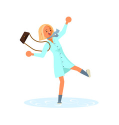 the woman slipped on icy road vector image