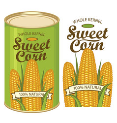 Tin can label for canned sweet corn with the cobs vector