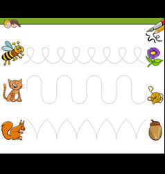 Trace lines writting skills educational workbook vector