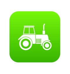 tractor icon digital green vector image