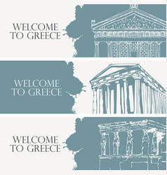 travel banners on the theme of ancient greece vector image