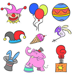 Various object circus set doodles vector