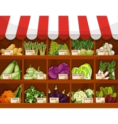Vegetable market stall with fresh veggies vector