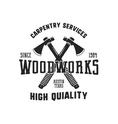 Vintage hand drawn woodworks logo and emblem vector