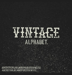 vintage stamp alphabet on black grunge background vector image
