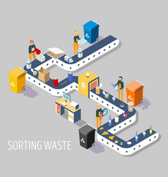 waste sorting plant flat isometric vector image