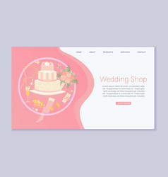 Wedding web store accessories flower bouquets and vector