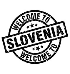 Welcome to slovenia black stamp vector