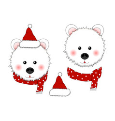 white bear santa claus with red scarf polka dot vector image