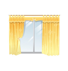 Windows with yellow curtain on a vector