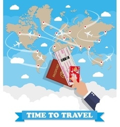 World map and hand with passport ticket card vector