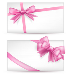 cards with pink bows vector image vector image