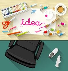 Designer desk artist collections of flat design vector image