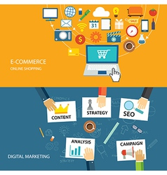 digital marketing and e-commerce flat design vector image vector image