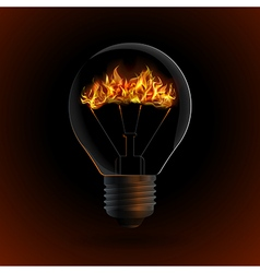 lightbulb with fire isolated on dark background vector image