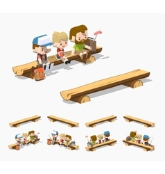 Low poly rough wooden bench vector image vector image