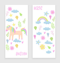 unicorn design set with clouds and rainbow vector image vector image