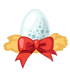 White egg with red ribbon isolated vector image