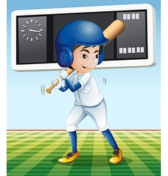 Baseball player with baseball bat in the field vector