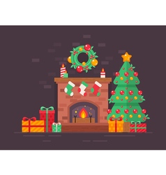 christmas fireplace tree vector image