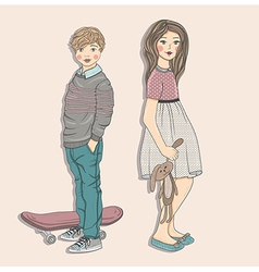 Cute kids fashion vector image