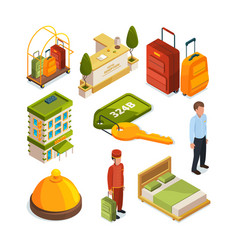 icons set of hotel services isometric vector image vector image