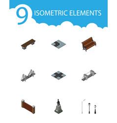Isometric city set of barrier highway vector