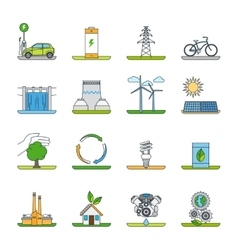 Renewable energy and green technology icons vector image vector image