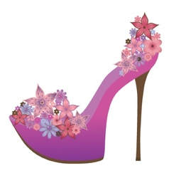 Shoes decorated with flowers vector image vector image
