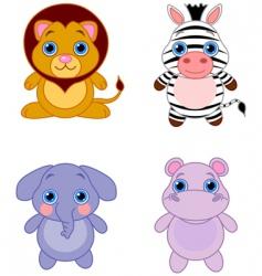 cartoon African animals vector image vector image