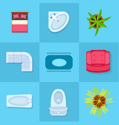 home furniture colorful icons vector image vector image