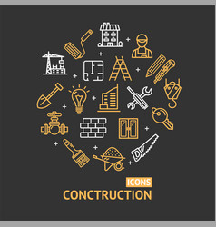 building construction elements and tools color vector image vector image